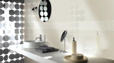 Origami beige vanity bathroom wall tiles - Origami design, interior design, light fixture, lighting, lighting accessory, product design, table, tap, wall, white