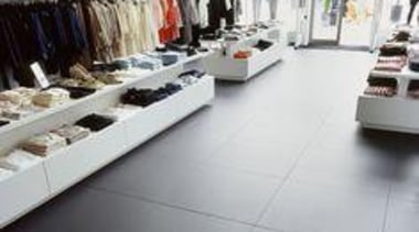 Thin ceramic tiles for floors, walls and exteriors. boutique, floor, flooring, product, retail, shoe store, tile, wood, gray, white