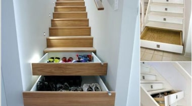 Here comes the stairs storage again - Stair drawer, floor, flooring, furniture, hardwood, product design, shelf, stairs, wood, gray
