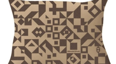 Suita cushions with Alexander Girard print, come in brown, cushion, pattern, throw pillow, white, brown