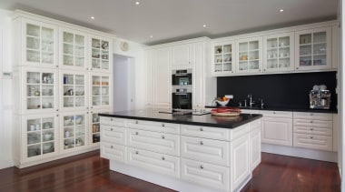 Contemporary technology is combined with timeless aesthetics and cabinetry, countertop, cuisine classique, floor, flooring, hardwood, interior design, kitchen, room, wood flooring, gray