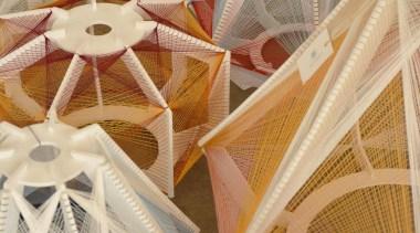 Julie Lansom has made these delightful Sputnik lamps structure, wood, orange, brown