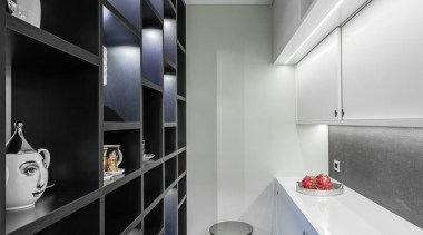 Sliding doors and open shelves make it easy architecture, countertop, interior design, kitchen, room, gray, black