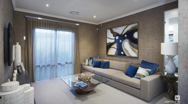 Home theatre design. - The Sanctuary Display Home ceiling, interior design, living room, property, real estate, room, gray