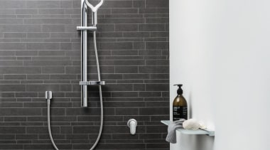 If showering is the only ten minutes of bathroom, plumbing fixture, shower, tap, wall, black, white