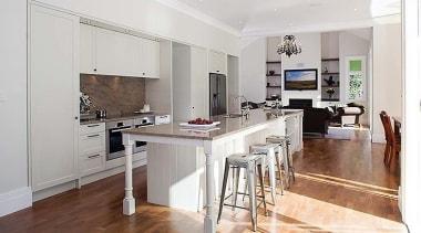 Light and Space  prevail - countertop | countertop, cuisine classique, floor, flooring, interior design, kitchen, property, real estate, room, wood flooring, white
