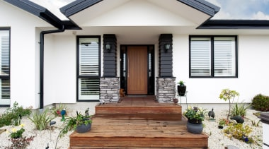 Crisp detailing with Linea weatherboard and schist stone door, estate, facade, home, house, porch, property, real estate, residential area, siding, window, white