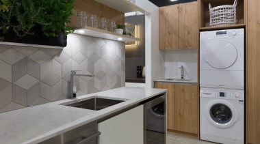 scullery, laundry, veneer, tiled splashback - Home show countertop, home appliance, kitchen, laundry, laundry room, major appliance, room, gray
