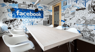 Who better than Facebook to redefine what a ceiling, furniture, interior design, office, table, wall, gray, black, white