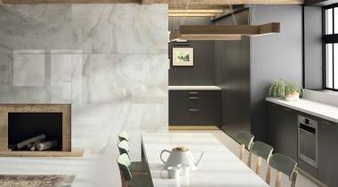 Kitchen front Fiord + table Glacier Dekton® XGloss countertop, floor, flooring, furniture, interior design, interior designer, kitchen, living room, tile, wall, gray