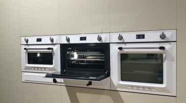 The Smeg Victoria range now includes integrated ovens electronics, gas stove, home appliance, kitchen, kitchen appliance, kitchen stove, major appliance, microwave oven, oven, gray, white
