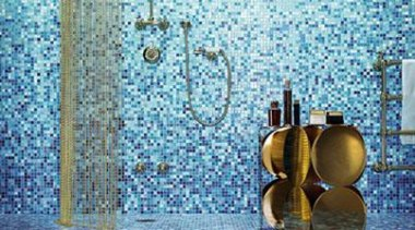 Gladiolo mosaic shower. - Bisazza Range - blue blue, flooring, glass, teal, white