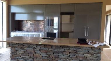 Stone Italiana - colour Camamilo Polish. - Stone cabinetry, countertop, flooring, interior design, kitchen, gray, black