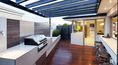 Alfresco entertaining with BBQ. - The Spectrum Display house, interior design, real estate, roof, window, white