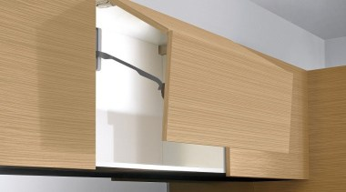 These compact systems, with integrated soft closing, maintain angle, light fixture, lighting, plywood, product design, shelf, wall, wood, gray, orange, brown