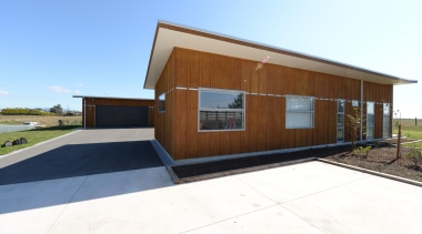 On a Taranaki rural block by Fowler HomesFor architecture, facade, home, house, property, real estate, shed, white