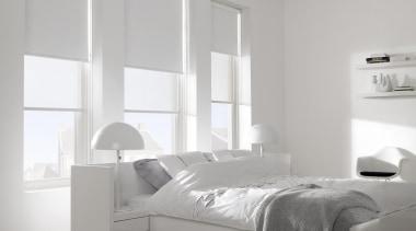 luxaflex roller blinds - luxaflex roller blinds - bed, bed frame, bed sheet, bedroom, floor, furniture, interior design, mattress, product design, wood, gray