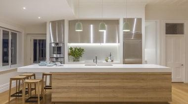 Winner – Creative Excellence Kitchen Award - Morgan cabinetry, countertop, cuisine classique, floor, flooring, hardwood, interior design, kitchen, room, wood flooring, gray, brown