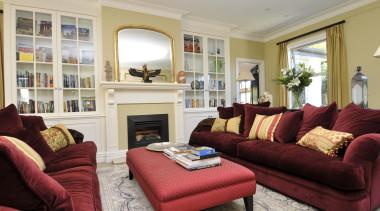 For more information, please visit www.gjgardner.co.nz estate, home, interior design, living room, property, real estate, room, window, gray, red