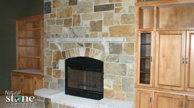 Biltmore Collection -Need to contact Natural Stone Veneers cabinetry, fireplace, floor, flooring, hearth, living room, masonry oven, wall, gray