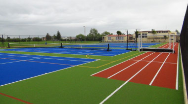 Pre-school, primary & seconday education ball game, grass, line, sport venue, sports, structure, tennis court, white, green