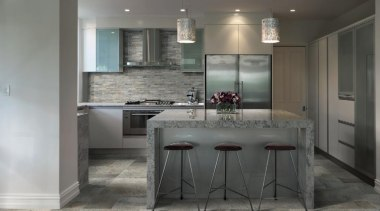 Stone D quartzite barge kitchen tiles and mosaic cabinetry, countertop, floor, flooring, interior design, kitchen, laminate flooring, tile, wood flooring, gray