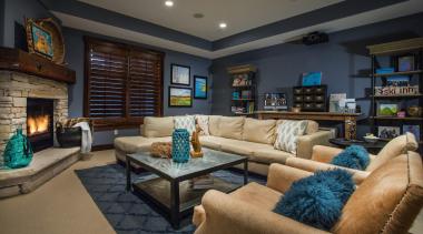 Mountain Modern - Lower Level Family Room - ceiling, estate, home, interior design, living room, property, real estate, room, black