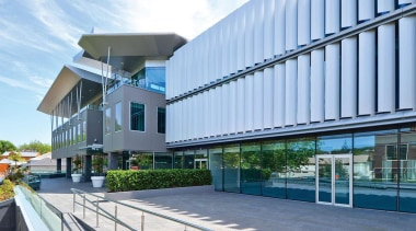 NOMINEEGHD Centre (4 of 4) - Resene Green architecture, building, corporate headquarters, facade, real estate, teal