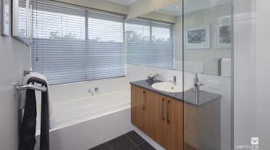 Bathroom design. - The Allure Display Home - bathroom, home, interior design, property, real estate, room, gray