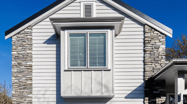 Simpler. Faster. Proven Weathertight. - A-lign Concealed Fix building, cottage, elevation, facade, home, house, property, real estate, residential area, sash window, siding, window, white