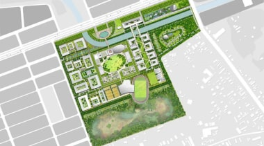 British landscape architecture firm Grant Associates working with architecture, area, land lot, map, mixed use, neighbourhood, plan, real estate, residential area, suburb, urban design, water resources, white