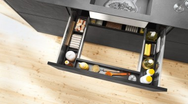 AMBIA-LINE inner dividing system – organization at its floor, flooring, furniture, product design, wood, orange