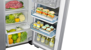 Refrigerator – Side By Side – SRS636SCLS Organize frozen food, home appliance, kitchen appliance, major appliance, produce, product, refrigerator, small appliance, gray, white