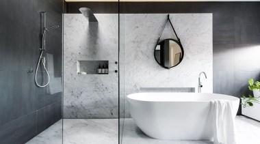 Minosa Design, SydneySee the full storyThis bathroom bathroom, bidet, ceramic, floor, interior design, plumbing fixture, product design, room, tap, tile, white, gray