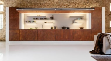 An imposing wall of weathered corten steel one floor, flooring, furniture, interior design, wood, white, brown