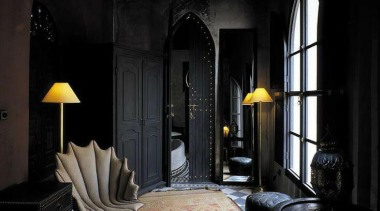 Moroccan Style so strong in black - Exotic architecture, darkness, interior design, light, light fixture, lighting, wall, window, black