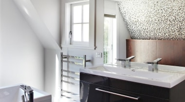 Callidus Architects – Highly Commended - 2015 Trends bathroom, bathroom accessory, bathroom cabinet, cabinetry, countertop, floor, interior design, kitchen, room, sink, white, gray