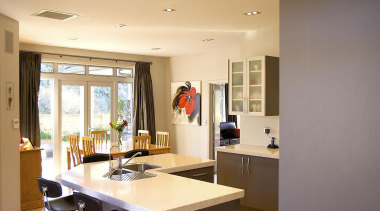 For more information, please visit www.gjgardner.co.nz architecture, ceiling, countertop, floor, flooring, furniture, house, interior design, kitchen, room, table, orange, brown