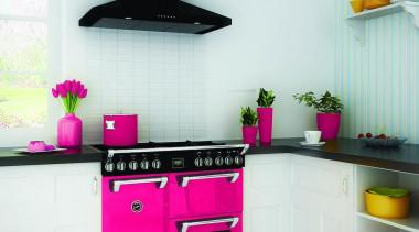 Belling Kitchen with Floral burst Richmond Range - countertop, home appliance, interior design, kitchen, kitchen appliance, kitchen stove, product, purple, white