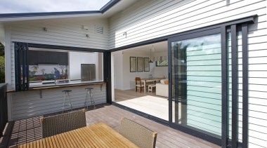 Maximise openings with over cladding stacking doors. Easy balcony, daylighting, deck, door, home, house, interior design, property, real estate, roof, window, white, gray