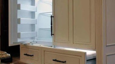 White Fridge with a twist - is it cabinetry, chest of drawers, cupboard, drawer, furniture, kitchen, product, wood stain, brown, gray