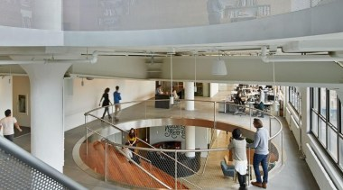 The design for renowned advertising agency Wieden+Kennedy moves architecture, ceiling, daylighting, interior design, gray