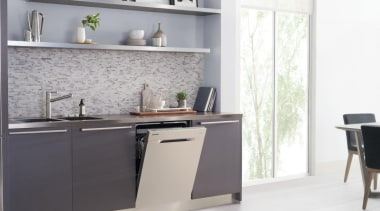 Dishwashers DW60H9970FSRevolutionise dish duty with WaterWall™ Technology. Only countertop, cuisine classique, furniture, interior design, kitchen, product, product design, shelf, sideboard, tap, wall, white, gray