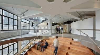 The design for renowned advertising agency Wieden+Kennedy moves architecture, ceiling, daylighting, floor, interior design, lobby, tourist attraction, gray