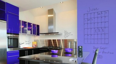Make family organisation a breeze with IdeaPaint. interior design, kitchen, product design, purple, blue, gray