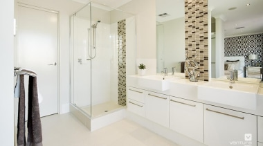 Ensuite design. - The Monticello Display Home - bathroom, bathroom cabinet, floor, home, interior design, property, real estate, room, white