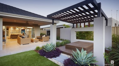 Plenty of backyard space to play and relax architecture, backyard, courtyard, estate, home, house, outdoor structure, patio, property, real estate, residential area, roof, yard, gray