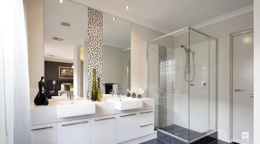Ensuite design. - The Paramount Display Home - bathroom, home, interior design, real estate, room, sink, gray
