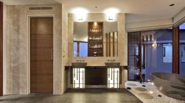 Winner Bathroom of the Year Queensland 2013 by cabinetry, floor, flooring, home, interior design, living room, lobby, room, brown
