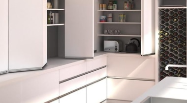 Not just full width access to wardrobes and cabinetry, furniture, interior design, kitchen, shelving, white